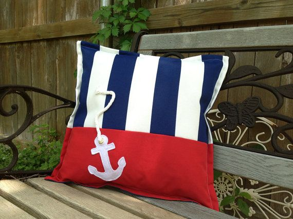 "Outdoor Pillow Nautical ""Anchor"" in Blue and White Stripes with Red Accent…"