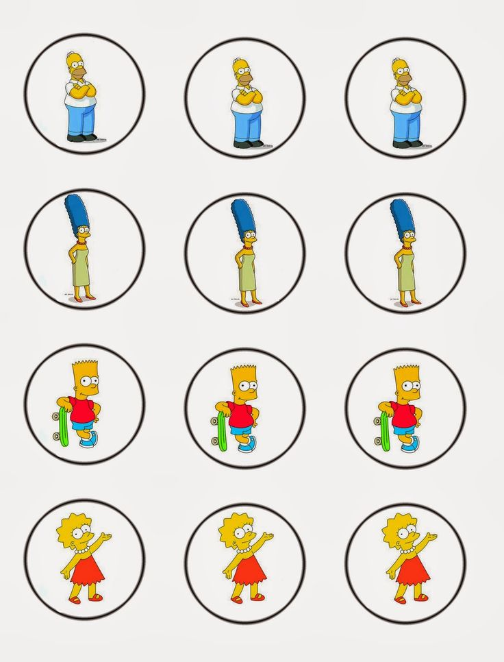 Daisy Celebrates!: Free The Simpsons Cupcake toppers download