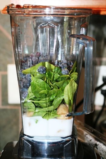 Blueberry Spinach Smoothie!  Yum- and so good for you!