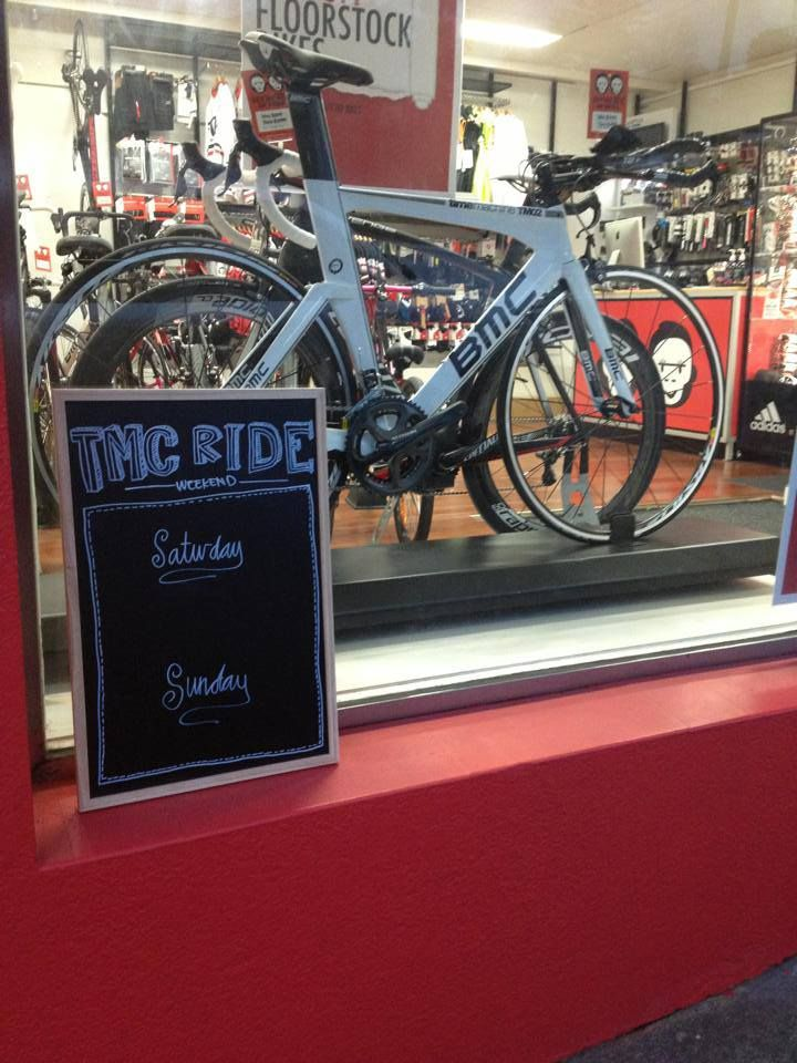 TMc Rides now advertised on window display as well as facebook page. www.facebook.com/twomonkeyscycling