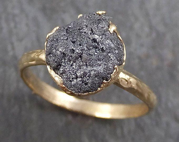 Bruto bruto negro gris diamante anillo de compromiso cruda 14k anillo boda Solitaire áspera diamante anillo de oro byAngeline 0295