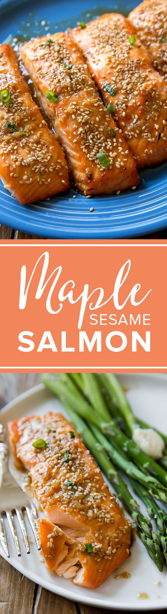 Super easy healthy weeknight dinner is baked maple sesame glazed salmon! Healthy recipe http://sallysbakingaddiction.com/2016/04/15/easy-maple-sesame-salmon/