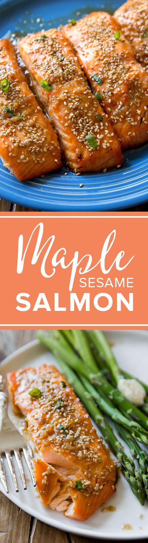 Super easy healthy weeknight dinner is baked maple sesame glazed salmon! Healthy recipe http://sallysbakingaddiction.com/2016/04/15/easy-maple-sesame-salmon/