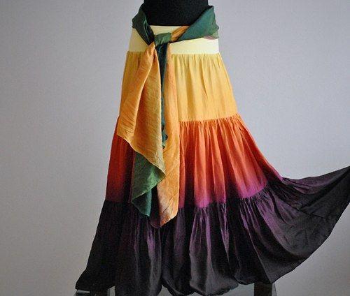 TEPLÝ PODZIME...dlouhá řasená hedvábná sukně