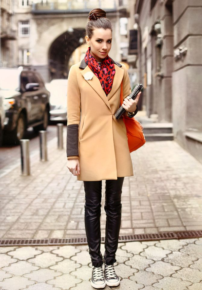 love this look - red, black, camel and orange