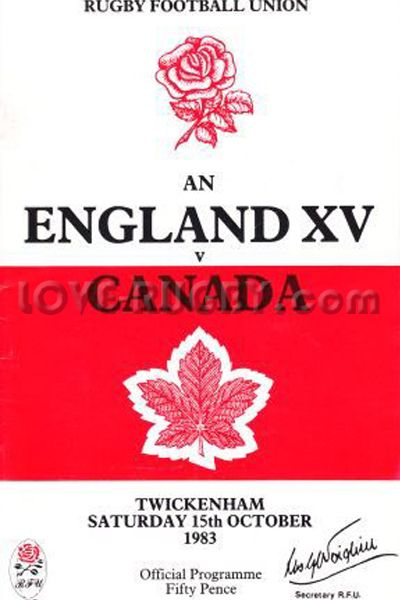 #rugby today 15/10 in 1983 : England 27-0Canada - rugby tour programme from Twickenham