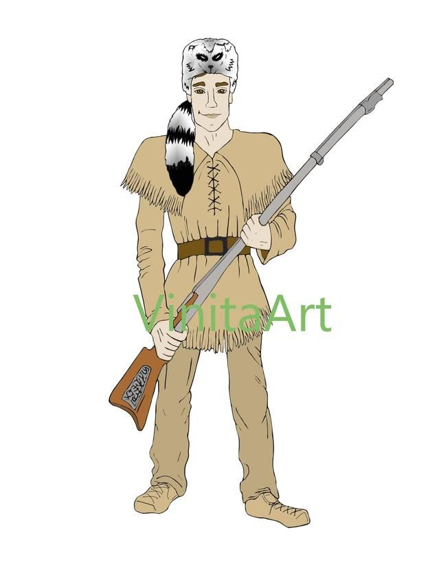 Davy Crockett Tall Tales Clip Art Wild West Story Digital Etsy