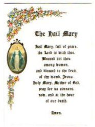 Card with The Hail Mary Prayer.
