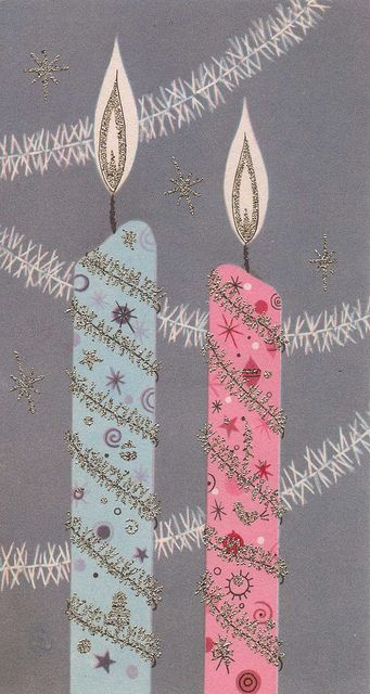 Vintage Christmas Card blue & pink candles