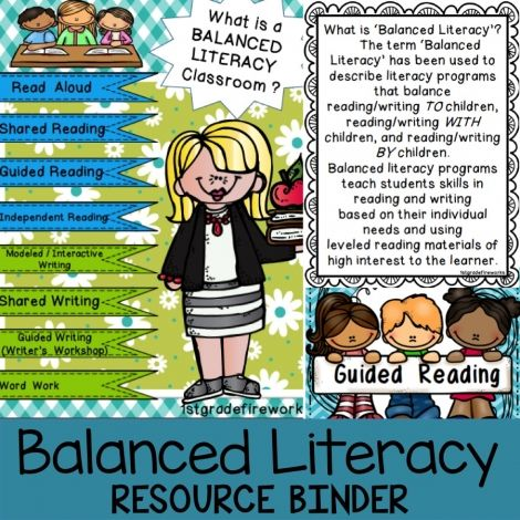 "This is a HUGE Resource BINDER! (Binder NOT included) 154 pages are in a zip file. File will need to be ""unzipped"". All of the pieces needed to create a BALANCED LITERACY classroom are included. Descriptors, samples, pictures, and resources are included.Printables in color & B/W."