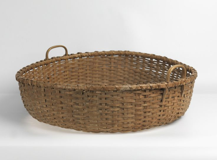 Large circular wool basket with twin loop handles woven split wooden splints - Diametre cercle basket ...