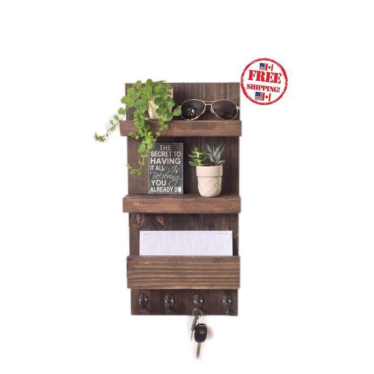 Entryway Organizer Floating Shelves Key Rack Mail Holder / FREE SHIPPING / Rustic Walnut Wooden Shelf / Wood Home Decor  #entrywayfurniture #woodmailorganizer #woodfloatingshelf #coathooks #etsy