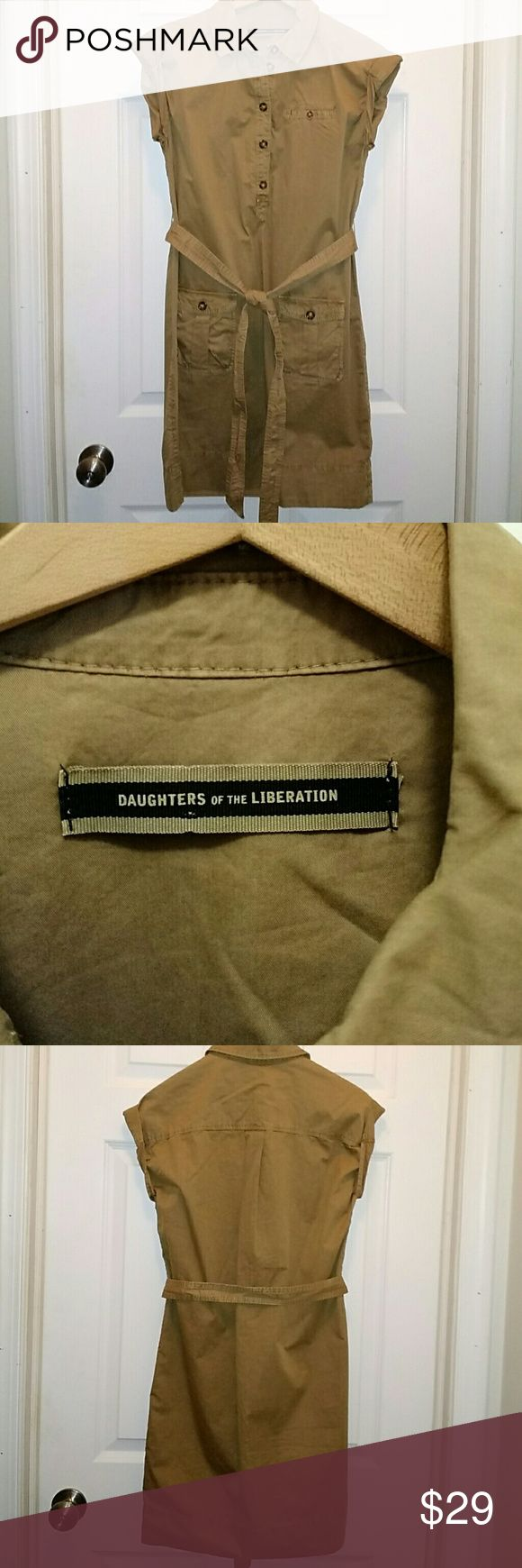 """Daughters of The Liberation khaki shirt dress XS Daughters of The Liberation by Anthropologie khaki shirt dress. Size Xs. Front flap Pockets with buttons. Rolled Cap sleeves. 100% proximal. Waist measures 40"""" and cinches an with belt. Length measures 35 inches from top of shoulder to hem. Excellent condition! Daughters of the liberation Dresses"""