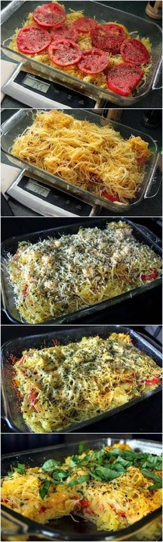 I added a couple big handfuls of spinach and buried the tomatoes between layers of the squash mixture.