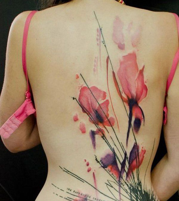 Watercolor Tattoo on Girls Back