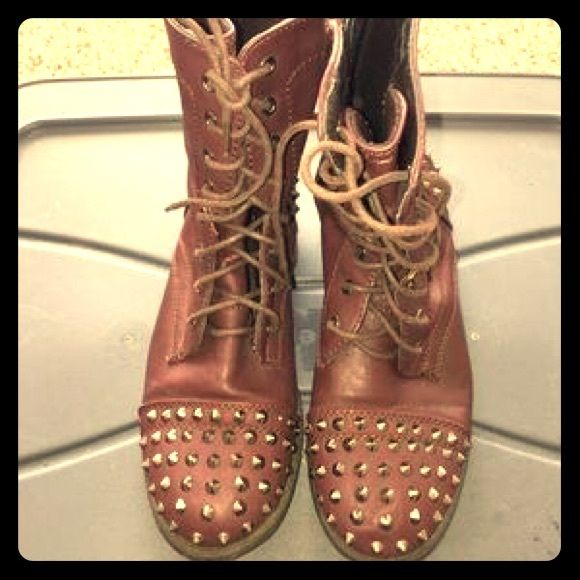 Brown studded combat boots Good condition only worn once Wet Seal Shoes Combat & Moto Boots
