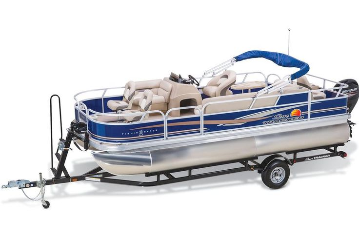 Custom, factory-matched trailer w/carpeted bunks and GAVASHIELD corrosion protection http://www.exclusiveautomarine.com/product/fishin-barge-20-dlx