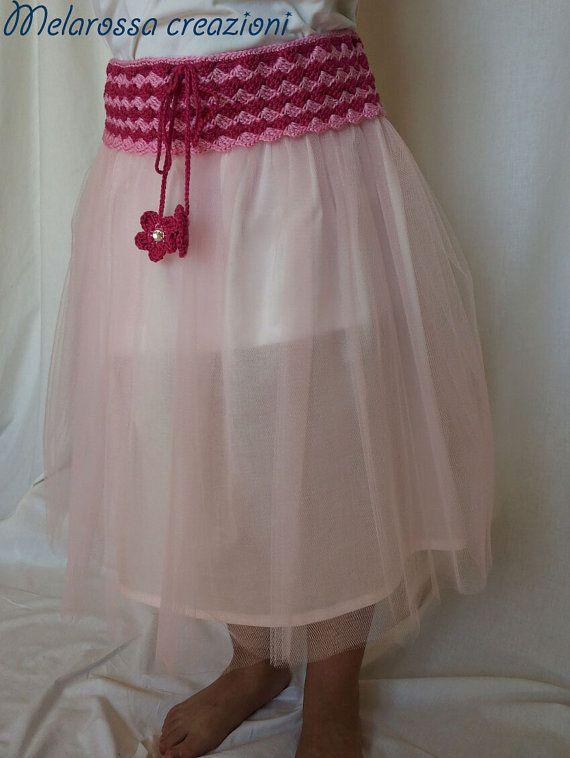 Gonna in tulle rosa abbigliamento bambina di MelarossaCreazioni