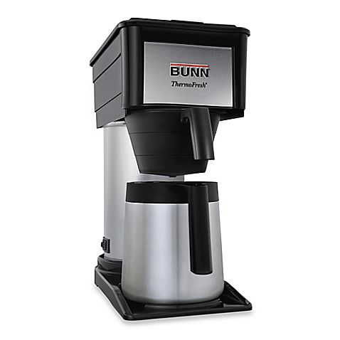 Quickly make up to 10 cups of perfectly brewed coffee with the Velocity Brew BT Thermal Bunn Coffee Maker. Features a spray head design for optimal coffee flavor extraction, a stainless steel thermal carafe and an internal hot water tank.