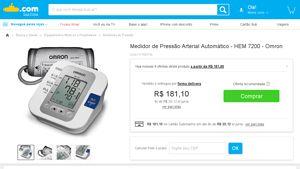 [Submarino] Medidor de Pressão Arterial Automático - HEM 7200 - Omron - de R$ 164,00 por R$ 164,00