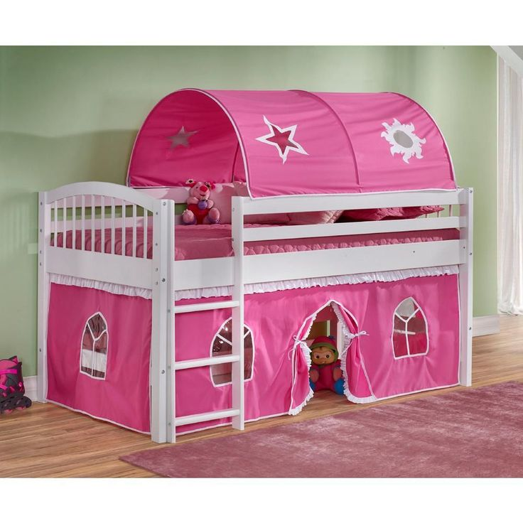 Addison Junior Loft Bed White with Pink and White Tent and Playhouse
