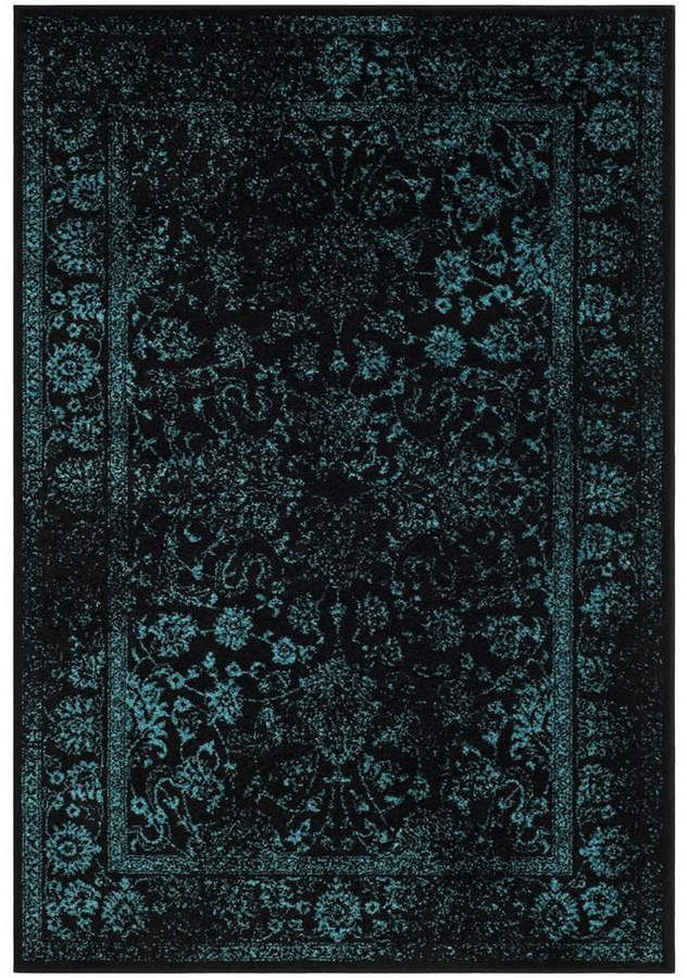 Safavieh Adirondack Black And Teal 5 1 X 7 6 Area Rug Area Rugs