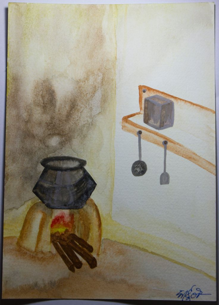 Natural village kitchen - Handmade watercolor painting