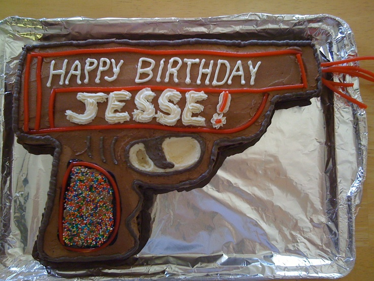 Laser gun cake