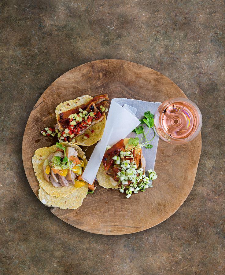 Tacos served with Blanc de noir