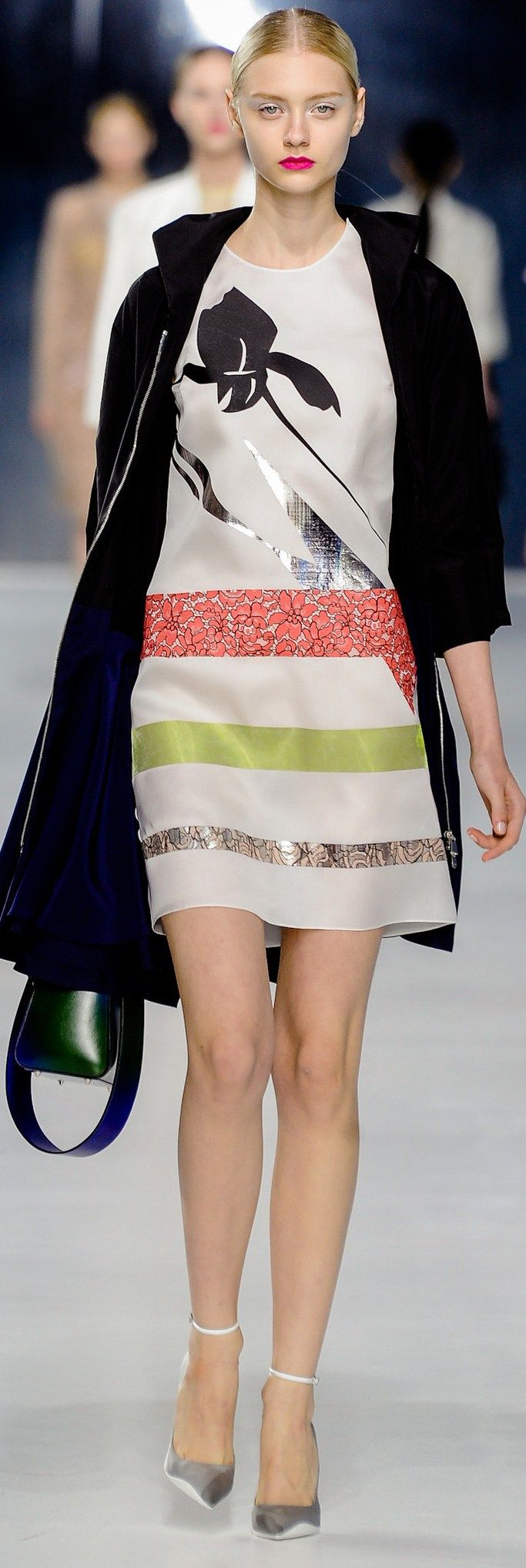 Christian Dior ● RESORT 2014   Not cool about the big flower on the front but like the interesting use of textiles on the skirt.