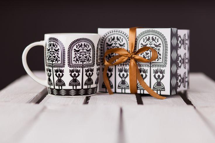 Kubek w pudełku FOLK – ludowe wzory z kurpiowskiej wycinanki