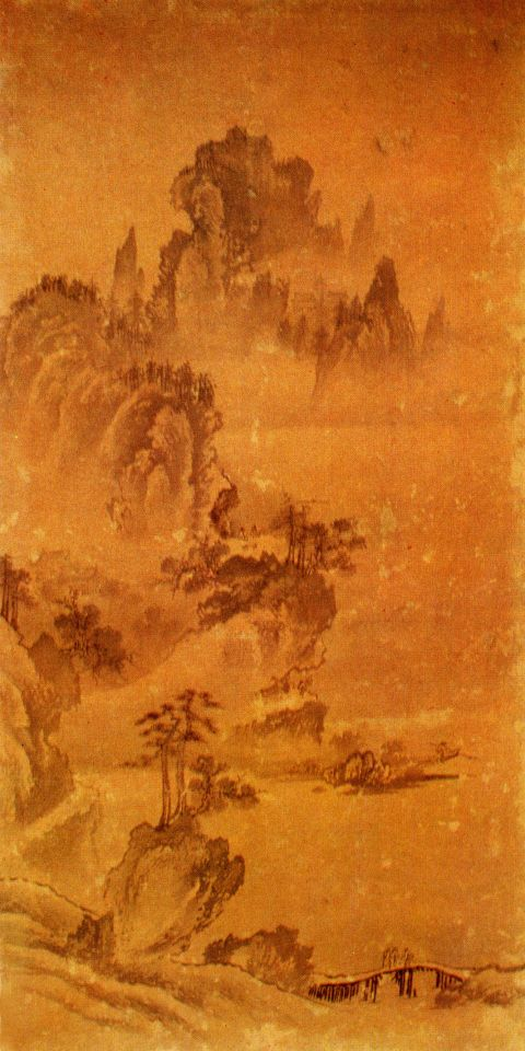 필자미상, 瀟湘八景圖 中 煙寺暮鐘, 8폭 중 제2폭, 16세기 전반, 병풍, 紙本水墨, 98.3×49.9㎝, 嚴島 大願寺, 日本 Anonymous : The evening gong at Qingliang Temple(1st Leaf of the Eight Views of the Xiaoxiang), Ink on Paper, Joseon dynasty(first half of 16th)