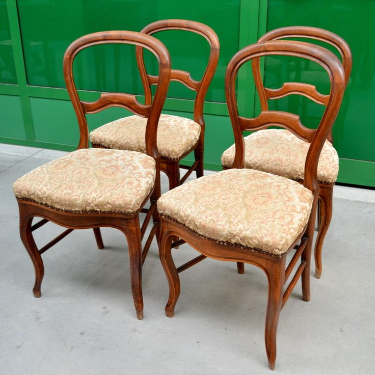 4 sedie Luigi Filippo in noce metà '800