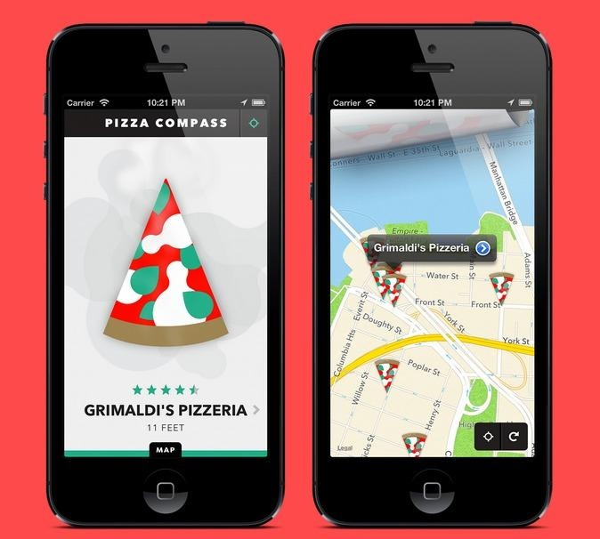 Pizza Compass App. Because when you need a slice, you need a slice! Love it.