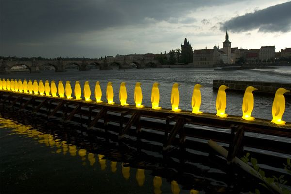 Materials - made from recycled plastic, will be broken down and recycled - yellow penguins prague 2008