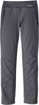 Run, ski or cycle hard and stay cool, dry and protected in the women's Patagonia Wind Shield Hybrid Soft-Shell pants. Their breathable construction fights wind while venting heat and moisture. Available at REI, 100% Satisfaction Guaranteed.