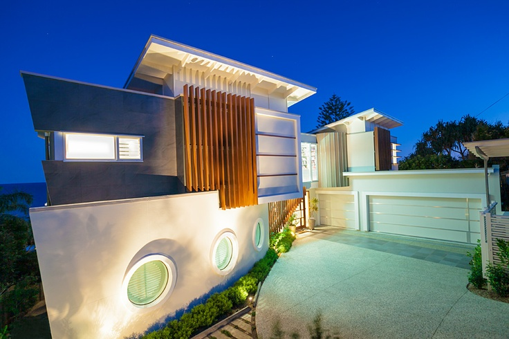 Chris Clout Design modern beach house Sunshine Coast with lighting pool landscapes architectural design and interiors