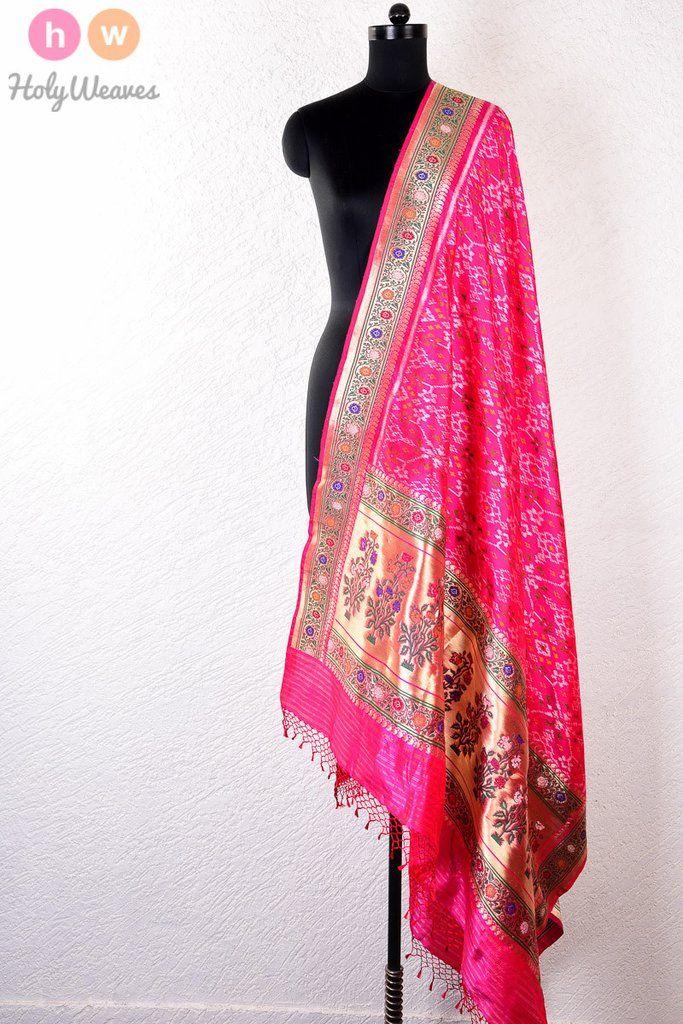 #Pink #Handwoven #Katan #Silk #Patola #Dupatta #HolyWeaves