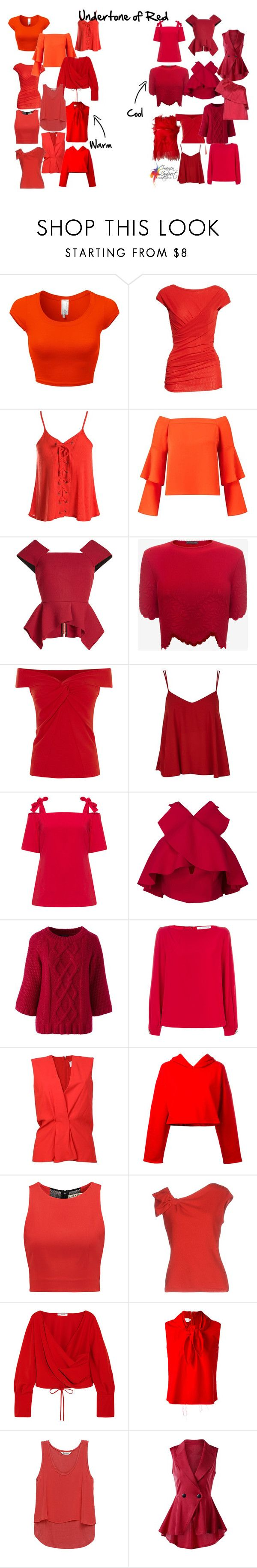 """""""Undertone of red"""" by imogenl ❤ liked on Polyvore featuring FUZZI, Sans Souci, Miss Selfridge, Roland Mouret, Alexander McQueen, Topshop, Manon Baptiste, Lands' End, Gianluca Capannolo and Maison Margiela"""