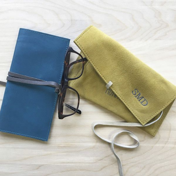 Embroidered Leather Wrap Pouch