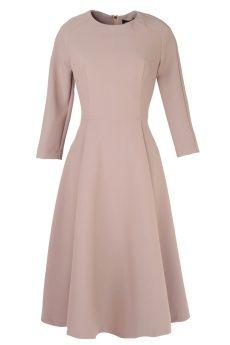Cyrille Gassiline Платье серого цвета с рукавами 3/4 и защипами на поясе - www.ready-to-wear.ru - 6900руб.