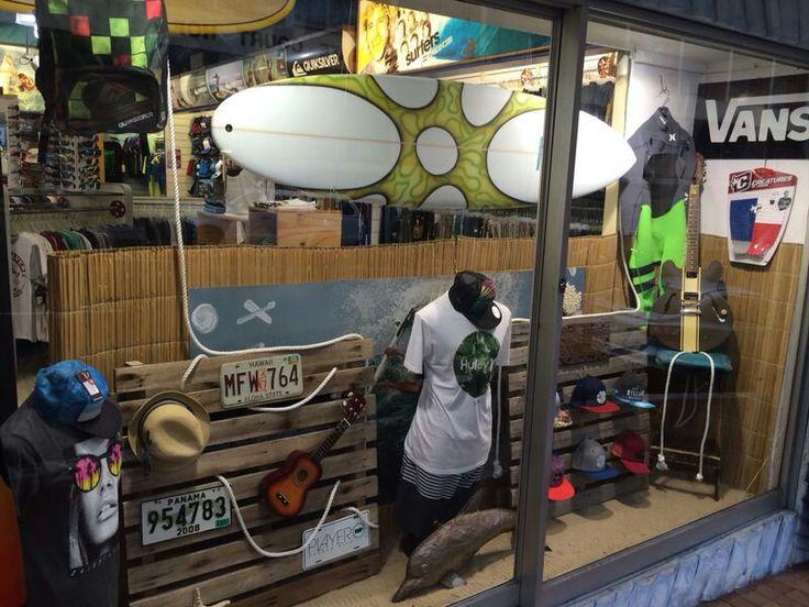 Surf shop window designs. Visual Merchandising