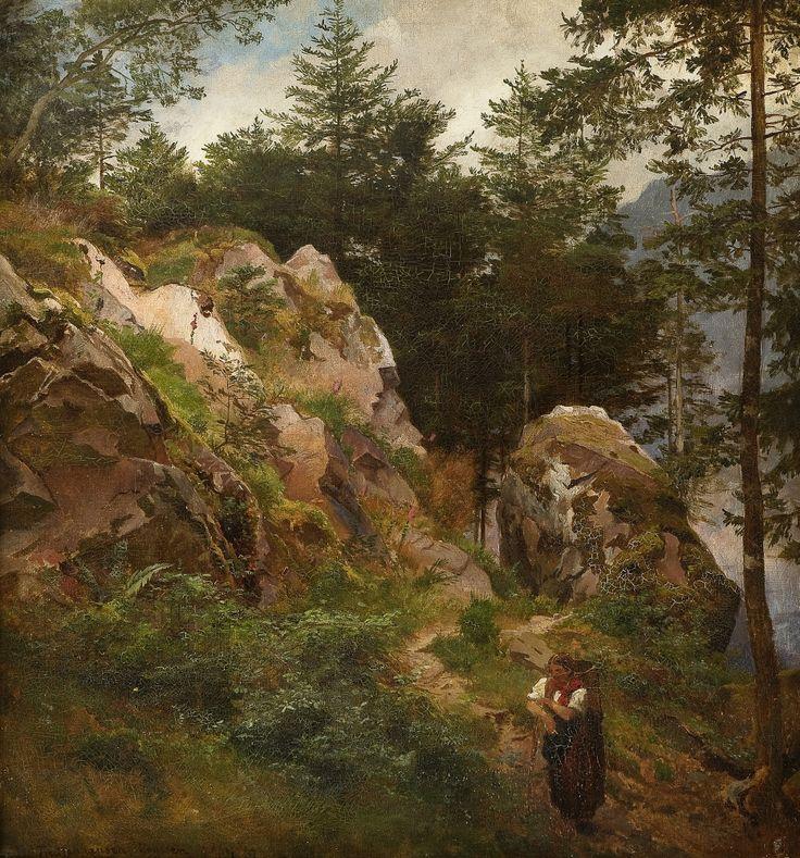 Hans Fredrik Gude (1825-1903):  Path through the rocks, 1867