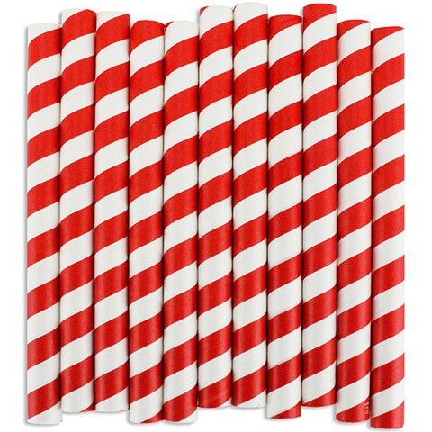 Red Stripe Short Paper Milkshake Straws - Layer Cake Shop