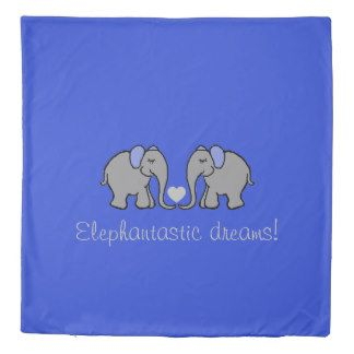 Cute Grey Elephants Two-Sided Custom Night Blue Duvet Cover