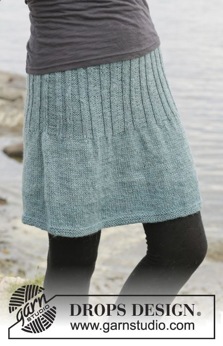 "Angel Falls Skirt - Knitted DROPS skirt in stockinette st with rib, worked top down in ""Karisma"". Size: S - XXXL. - Free pattern by DROPS Design"