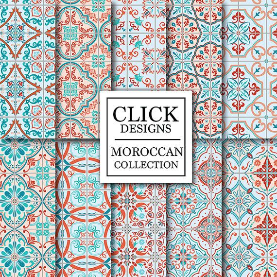 Moroccan Digital Paper: RED BLUE MOROCCAN retro by ClickDesigns