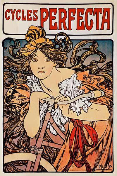 Alphonse Mucha-Poster advertising ''Cycles Perfecta''