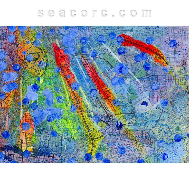 San Francisco Microclimate Map%0A Southern California Splatter Map  Pasadena by Sean Corcoran  This  abstract  acrylic  mixed