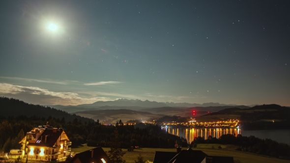 Night  with Moon, Stars, Clouds, Mountains and Village Near the Lake